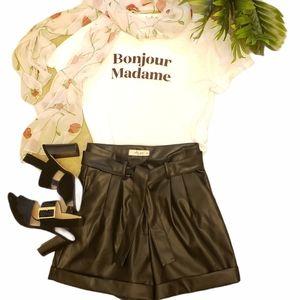 Molly Green Black Leather High Waist Shorts